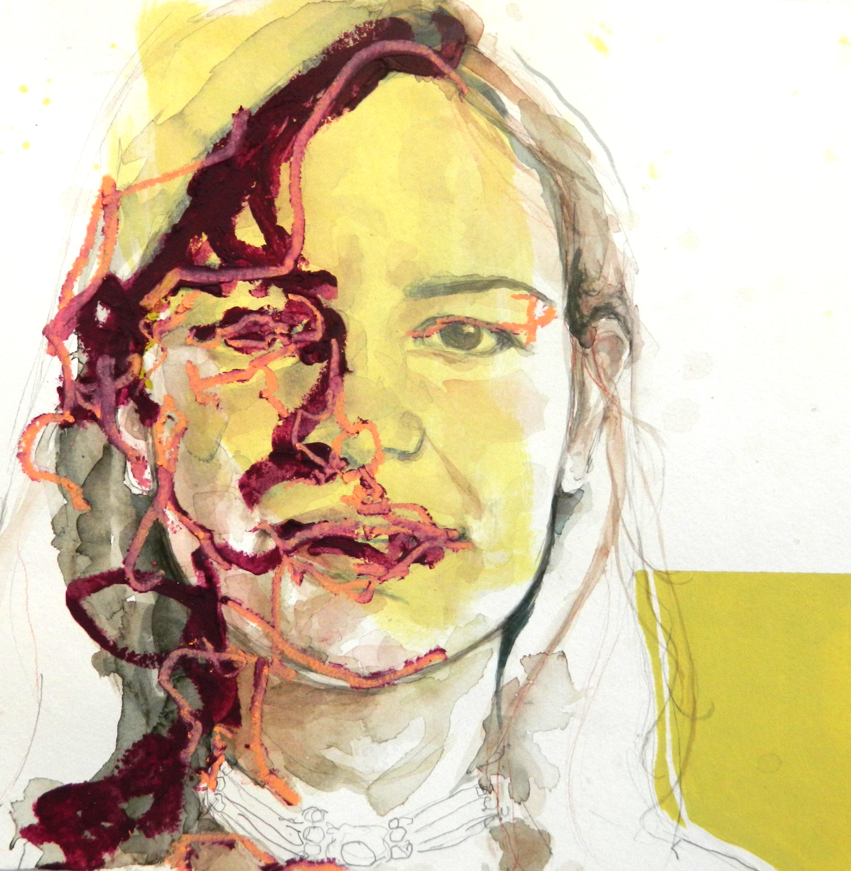 """Identity II, watercolor and oil on paper, 12""""x12"""", $325 Inquire"""