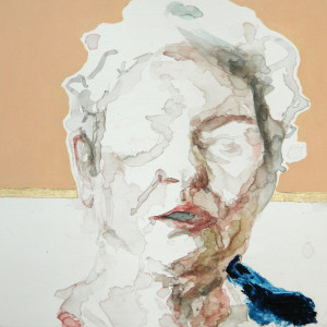 "Identity J, watercolor and oil on panel, 12""x12"" $375 Inquire"