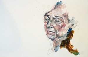 "Sophia I, watercolor and oil bar on paper, 12""x17"", $325 Inquire"