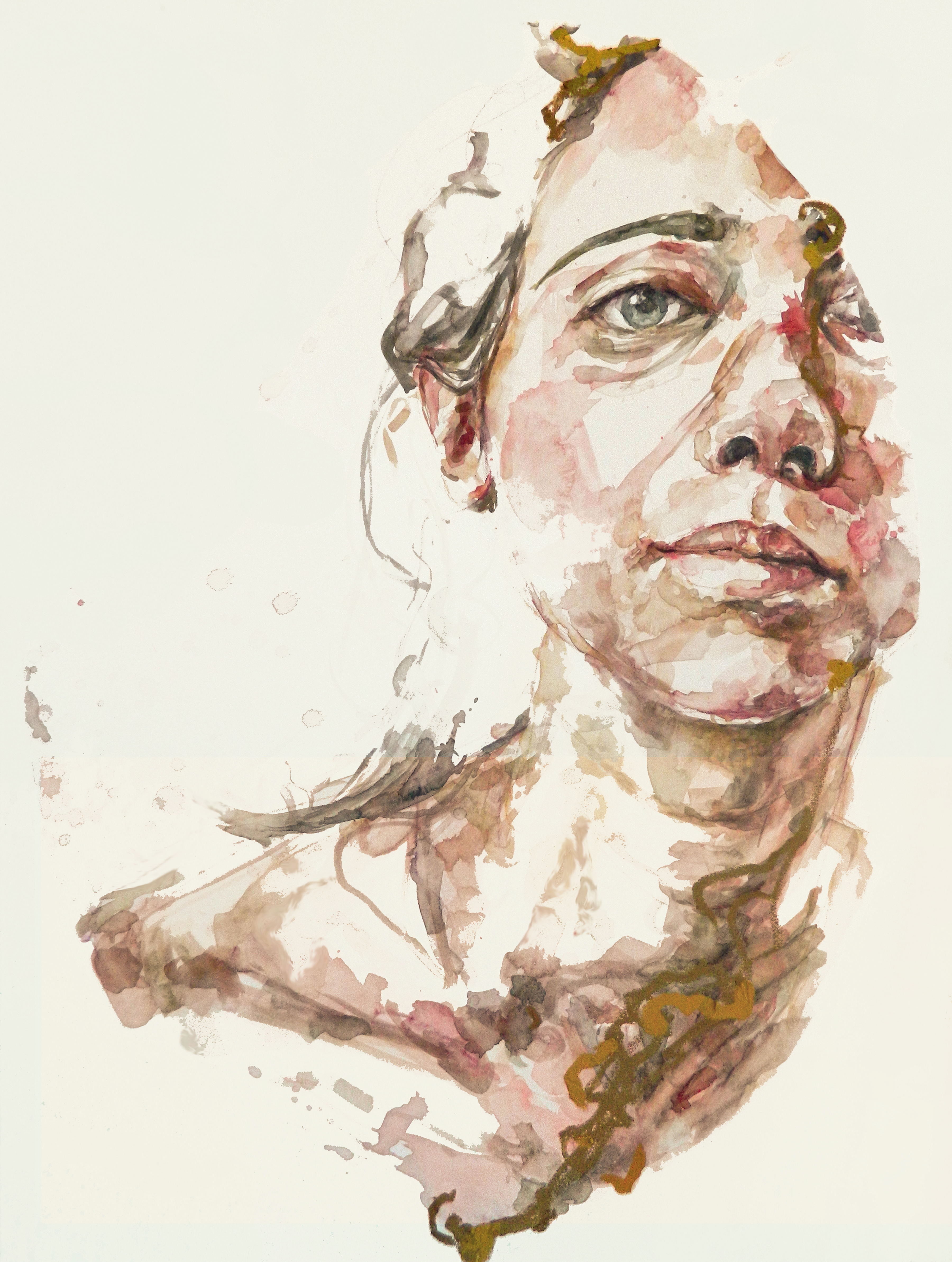 "Identity VI 30""x40"" Watercolor and oil bar on canvas"