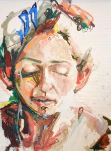 """Blue Barrettes Watercolor and Oil, 22""""x30"""" Inquire"""