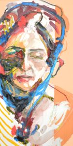 "Modern American Woman Watercolor and Oil, 10""x20"" Inquire"