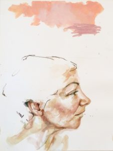 "Sandra, Thoughts Watercolor, 18""x24"" Framed, $650 Inquire"